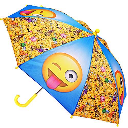 alles-meine.de GmbH Regenschirm -  Emoji - Emoticon Icons  - Kinderschirm Ø 70 cm / groß Stockschirm mit Griff - Kinder - Regenschirme - für Jungen Mädchen - Schirm Kinderregen..