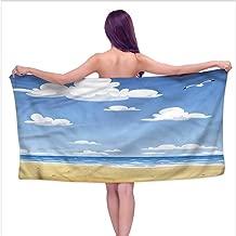 Tankcsard Sauna Towel Beach,Cartoon Drawing Clouds,W10 xL39 for Beach