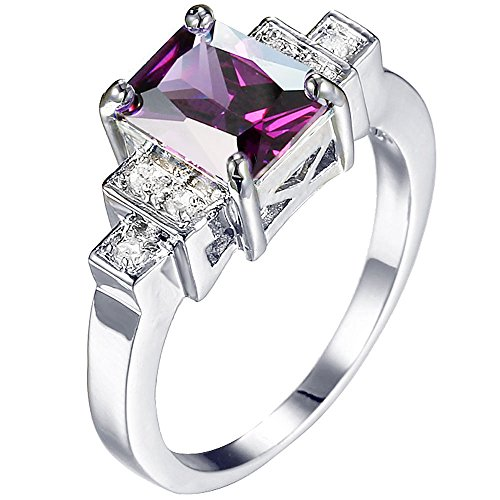 XAHH Women Platinum Plated Square Cut 3 Stones Purple CZ Ring Bridal Engagement Wedding Band 8
