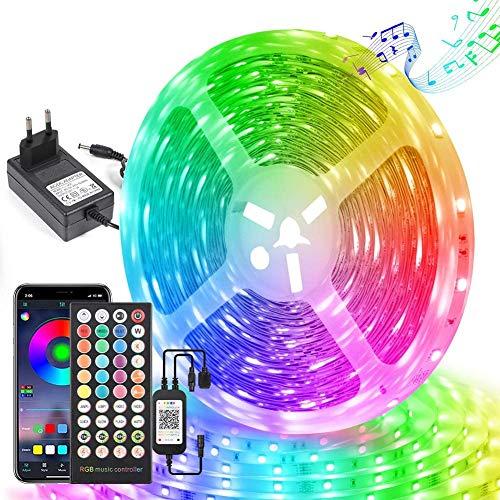 LDHOU - Tira LED de 15 m con control de aplicación y mando a distancia, luces LED RGB 5050 24 V, función musical, luces LED para dormitorio