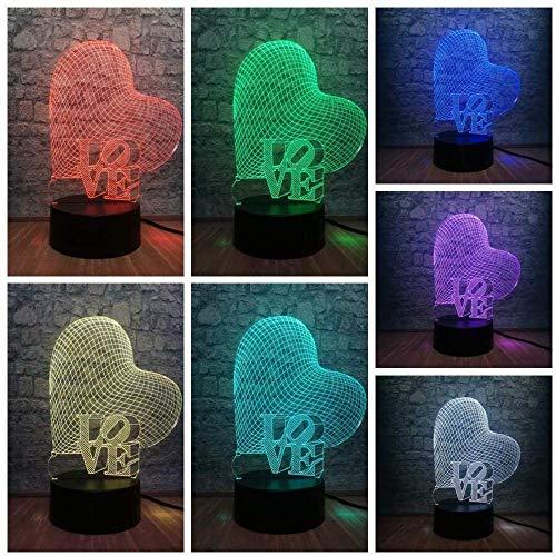 Regalo de baloncesto Luz de noche 3D amor palabra cariño 3D LED USB ambiente de luz ambiente 7 colores cambiantes luz de noche romántica lámpara de mesa decoración regalo de amante con Fer
