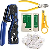 CHZHLM Rj45 Crimp Tool Kit Pass Through Crimping Tool Crimper Cutter for Cat6 Cat5 Cat5e with 50PCS Connectors Mini Wire Stripper Cable Tester and Plier
