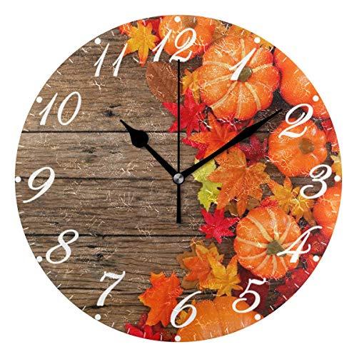 Hojas de otoño Calabazas Sunr Reloj de pared Silencioso sin tictac, Relojes de tablero de madera Reloj de escritorio vintage con pilas Reloj de cuarzo analógico Dormitorio silencioso Sala de estar Dec