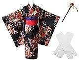 Japanese Anime Lolita Cherry Sakura Flower Printing Kimono Costumes Fancy Dress Hairpin tabi Socks Set(CHF006) XL