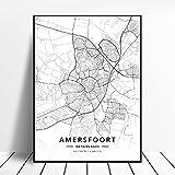 linbindeshoop Póster Almere Alkmaar Arnhem Amersfoort Haarlem Utrecht Zwolle Países Bajos Mapa (LQ-337) 40x60cm Sin Marco