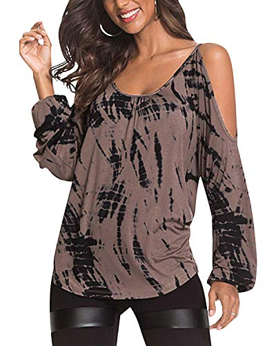 YOINS Mujer Camiseta de Manga Larga Camisas de Hombro Frío Camisetas para Mujer Elegante Blusa Casual Fiesta Tops Marrón XL