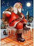 Diy pintura digital pintura para adultos Santa Claus chimenea digital adulto principiante niños decoración de la pared del hogar con pinceles y pintura acrílica