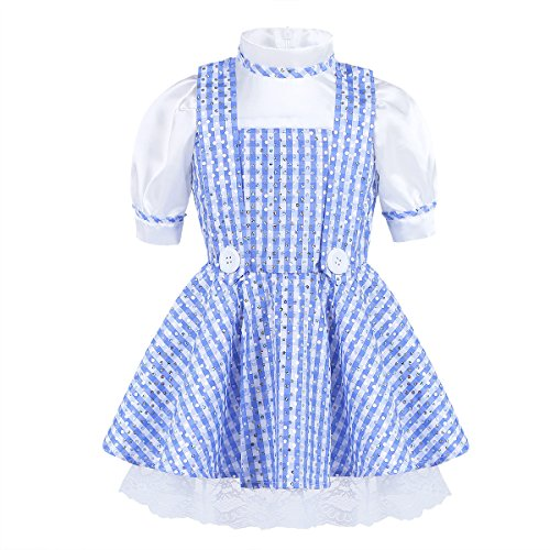 Alvivi Baby Girls Sequined Polka Dots Plaid Halloween Dressing up Kids Cosplay Party Dress Costume Blue 2-3