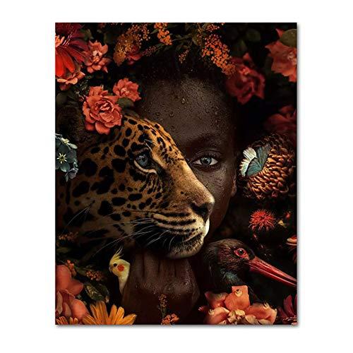 HYFBH Leinwanddruck Afrikanische Kunst Schwarze Frau Tiger Rose Vogel Gemälde an der Wand Leinwand Poster Kunst Bild für Wohnzimmer Dekor 60x90cm (24x35 Zoll) Mit Rahmen