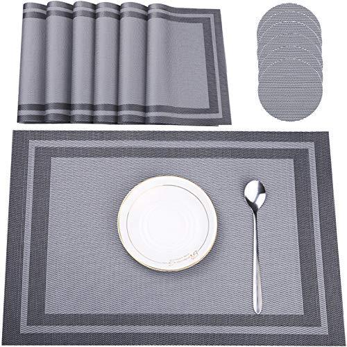 Tonsooze Set mit 6 Tischsets, waschbare Tischsets PVC rutschfest hitzebeständig 6er Set, hitzebeständig, für Küchen-Esstisch