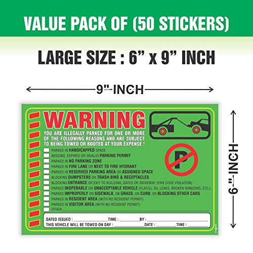 """Parking Violation Stickers Notice (Pack of 50) Tow Warning You are Illegally Parked Multi Reasons - Large Size 6"""" X 9"""" – Green Photo #7"""