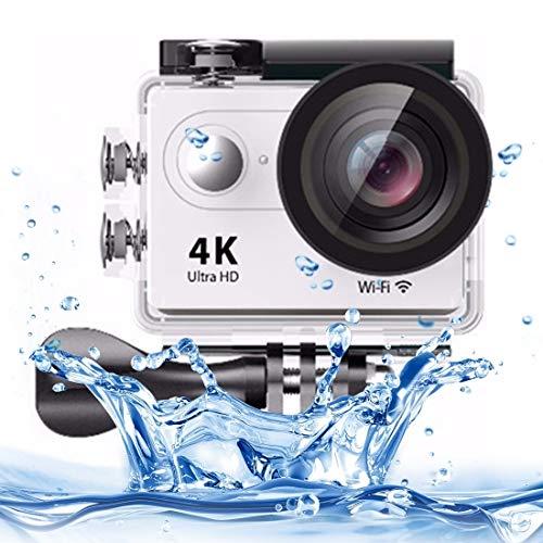 SAHUD Actionkameras H9 4K Ultra-HD1080P 12MP 2 Zoll LCD-Schirm WiFi-Sport-Kamera, 170 Grad Weitwinkelobjektiv, 30m Wasserdicht (Color : White)