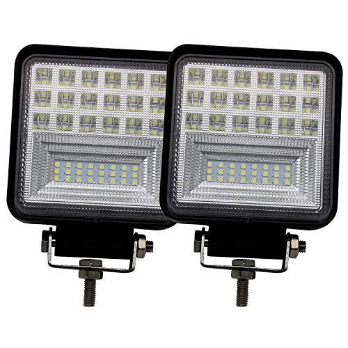 Phare de Travail Led Carrée x 2 Barre LED Projecteur Spot Combo Lumière étanche IP68 12V 24V pour Travail Agricole Chantier Tracteur Voiture Camion VTT Bateau - BraveWAY (953B-2pc)