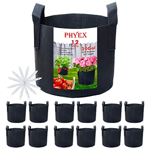 PHYEX 12-Pack 20 Gallon Nonwoven Grow Bags, Aeration Fabric Pots with Durable Handles, Come with 12 Pcs Plant Labels