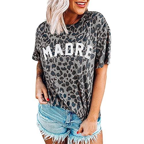 Camiseta Mujer Tops Mujer Sexy Elegante Patrón De Leopardo Cuello Redondo Manga Corta Moda Verano Vacaciones Casual Suelta Cómoda Mujer Blusa Mujer Shirt D-Grey XL