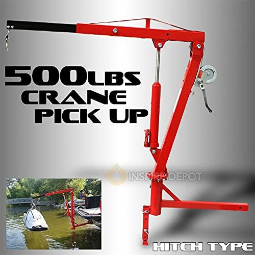 XtremepowerUS 500Lb Pickup Truck Hydraulic Pwc Dock Jib Engine Hoist Crane Hitch Mount Lift 2' Hitch Mount, Red