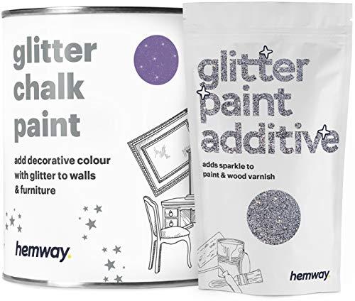 Pintura de tiza con brillo de amatista Hemway - 1 litro de plata