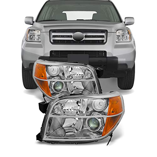 For Honda Pilot Black Driver Left + Passenger Right Side Projector Headlights Head Lamps Replacement Set