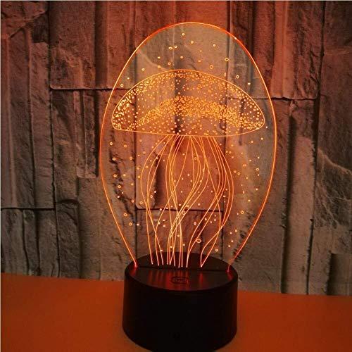 Kaper Go Lámpara LED 3D Base Luz de Noche, Medusas Decorativas 7 Colores Cambio Touch Sensible Interruptor de Escritorio Luz Óptica Ilusión Hogar Bar Regalo Creativo