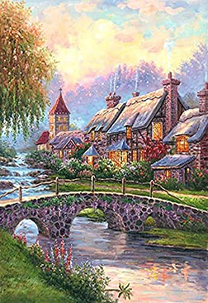 3D Decor Art Painting of Thomas Kinkade Style Landscape Cottage Bridge River Idyllic Artwork on Canvas with Touchable Brush Strokes and Textures of Oil Paintings 946 42x62