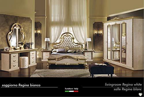 Luigi lak, ivoorkleurig en goudkleurig, voor slaapkamer: kast met 6 deuren + bed + 2 nachtkastjes + make-uptafel + spiegel