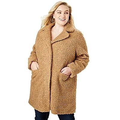 Roamans Women's Plus Size Teddy Bear Coat - 26/28, Camel by Roamans
