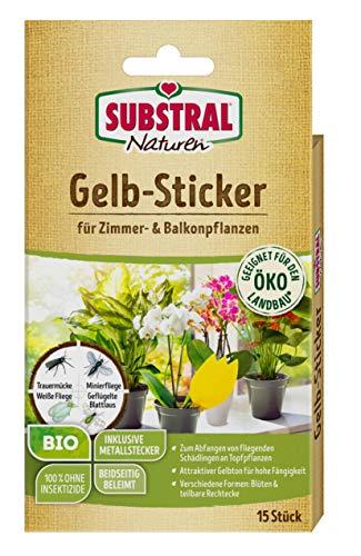 Substral Naturen Bio Gelbstecker, Gelbsticker, insektizidfreie Leimfallen zum Schutz von Zierpflanzen, 15 Stück