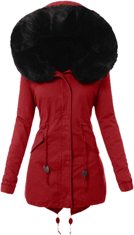 Shusuen Womens Winter Parka Coat Thick Warm Hood Overcoat Comforty Long Hooded Jacket Fashion Faux Fur Lining Jackets Coats