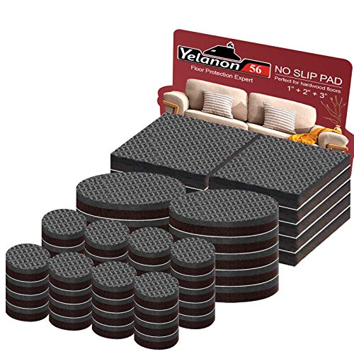 """Non Slip Furniture Pads - 56 pcs(1+2)"""" Furniture Grippers, Non Skid for Furniture Legs,Self Adhesive Rubber Feet Furniture Feet,Anti Slide Furniture Hardwood Floor Protector for Keep Couch Stoppers"""