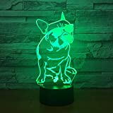 Dog, French Bulldog Dog, 3D Night Light, 7 Colors Changing Optical Illusion Touch Table Desk Lamp, Perfect Gifts for Kids' Home Decoration LED Lamp