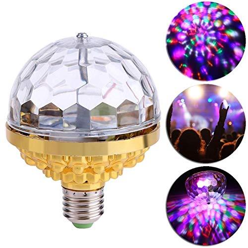 xingshengdejia 6W Rotating Crystal Magic Ball RGB LED Stage Light Bulb E27 Lamp LED Stage Light for Disco Party DJ Christmas Effect
