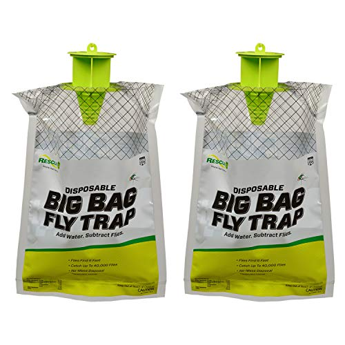 RESCUE! Big Bag Fly Trap – Large Capacity Disposable Outdoor Hanging Fly Trap - 2 Traps