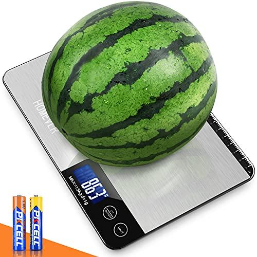 Homever Küchenwaage, 15KG Digitalwaage Professionell Electronische Waage mit LCD-Display, Edelstahl und Linealfunktion zum Backen, auf 1g/0.1oz Präzise Messung, Batterien im Lieferumfang enthalten