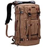 WITZMAN Canvas Backpack Vintage Travel Backpack Large Laptop Bags Convertible Shoulder Rucksack (A519-1 Brown)