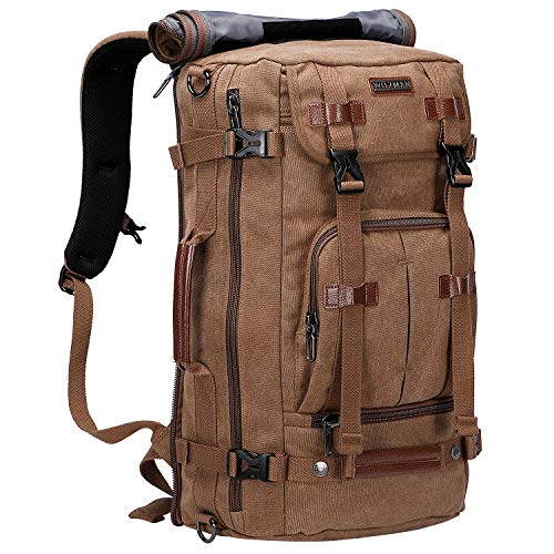 WITZMAN Canvas Backpack Vintage Travel Backpack Large Laptop Bags Convertible Shoulder Rucksack (A519-1 Brown)