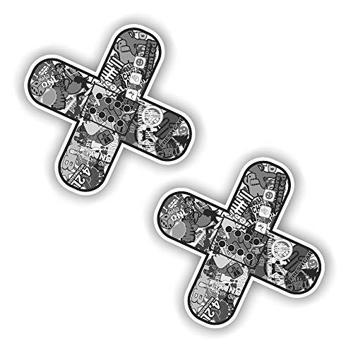 folien-zentrum 2X Pflaster Sticker Aufkleber Shocker Hand Auto JDM Tuning OEM Dub Decal Stickerbomb Bombing Sticker Illest Dapper Fun Oldschool