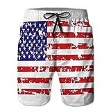 LJKHas232 Pantaloncini da Nuoto Estivi per Ragazzi Che eseguono bauli con Coulisse Bandiera Americana Grunge XL
