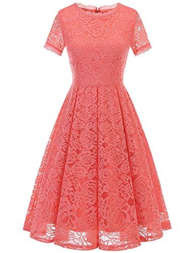 DRESSTELLS Damen Chic Blumen Spitzenkleid Midi Rundausschnitt Cocktailkleid Kurz Abendkleid Rosa Brautjungfernkleid Coral XL