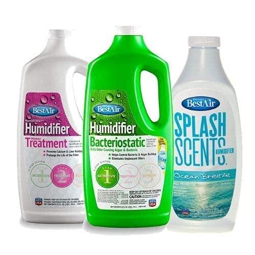 BestAir Humidifier Bacteriostatic 3BT 32 Oz, WaterTreatment 1T 32 Oz, and Ocean Breeze Splash Scent 16 Oz Kit