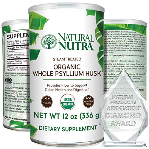 Natural Nutra Organic Whole Psyllium Husk Powder, Detoxifies The Body, Helps Reduce Blood Sugar, Maintain Weight, Supports Better Digestion, Soluble and Insoluble Dietary Fiber, 12 oz, 81 Servings
