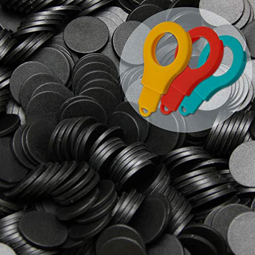 100 Einkaufswagenchips EKW Pfandmarken Wertmarken Farbe Schwarz + 3 Chiphalter für Schlüsselbund von SchwabMarken