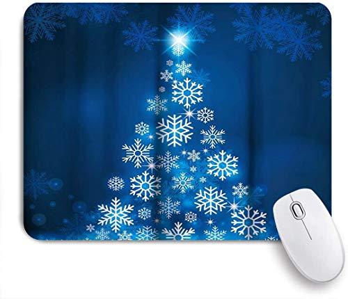 VORMOR Mauspad - Blauer fluoreszierender Weihnachtsschneeflockenbaum mit dunkelblauem Hintergrund - Gaming und Office rutschfeste Gummibasis Mauspads,240×200×3mm