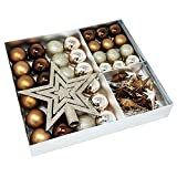 ToCi Juego de 45 bolas de Navidad con estrellas y cadena de perlas, color dorado