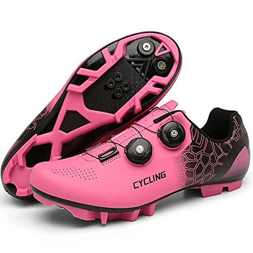 KUXUAN Zapatillas de Ciclismo Mujer Hombre Carretera SPD Bike Zapatillas de Ciclismo Spin Shoestring con Compatible SPD Look Delta Cycle Riding Cleat Zapatillas Peloton,Pink-A-11UK=(275mm)=45EU