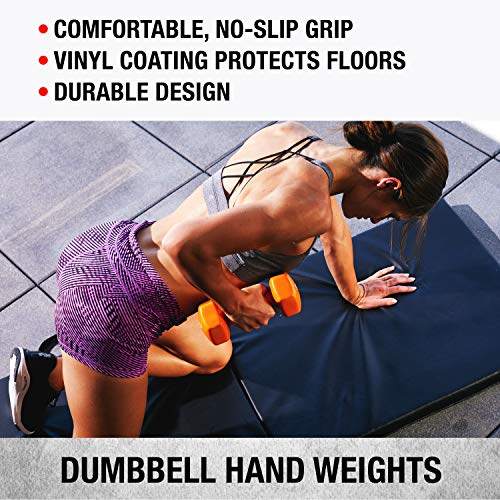 Product Image 4: SPRI Dumbbells Deluxe Vinyl Coated Hand Weights All-Purpose Color Coded Dumbbell for Strength Training (Set of 2) (Dark Blue, 5-Pound)