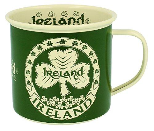 Emaille Tasse mit Irland Text un Shamrock Design, Grün Farbe