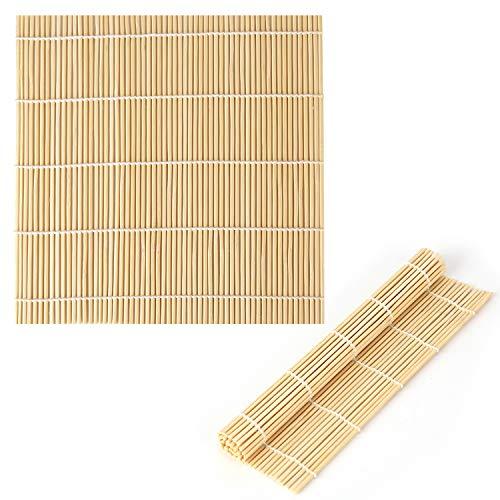 LUTER 9x9.5 Pulgadas Bambú Natural Estera De Sushi Herramienta para Hacer Sushi Rodillo De Sushi para Hacer Sushi (2 Piezas)