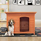 """COZIWOW Large Outdoor Deluxe Waterproof Slant-Roofed Wood Pet Dog House Shelter Kennel with Open Entrance,Orange, 43.3""""x29.5""""x32"""""""