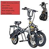 CHA Vélo électrique, 2 Batterie d'appoint pour Adultes Tricycle Pliable 3 Roues Trike 350W VTT avec 30 km de la lumière LED Voyage 10AH