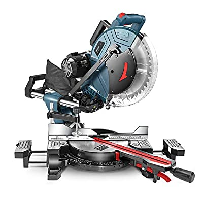Compound Miter Saw, REYLEO 12-inch, 15Amp Dual-Bevel Sliding Miter Saw with 40T Blade, Laser, and Extensible Table (Multi-angle cutting)-RMS01A from REYLEO